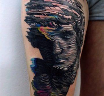 Абстрактный 3D портрет человека на бедре
