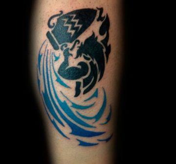 Черно-синий знак Водолея в стиле трайбл