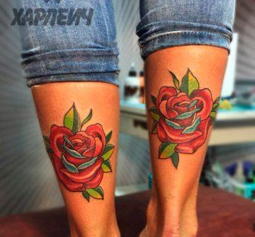 Две красные розы на задних частях голени