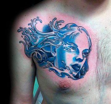 Синее женское лицо символизирующее Водолея