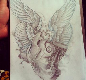 Эскиз двигателя с крыльями