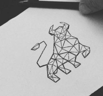 Эскиз быка в стиле геометрия