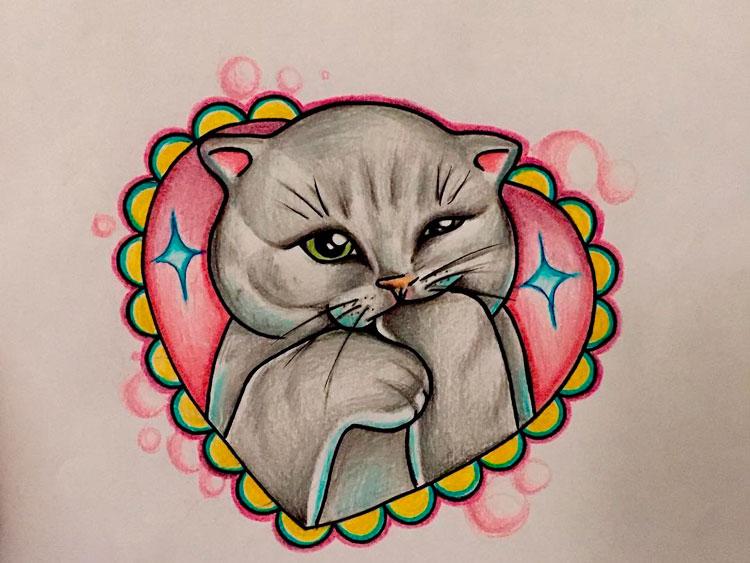 Эскиз кошки в сердечке