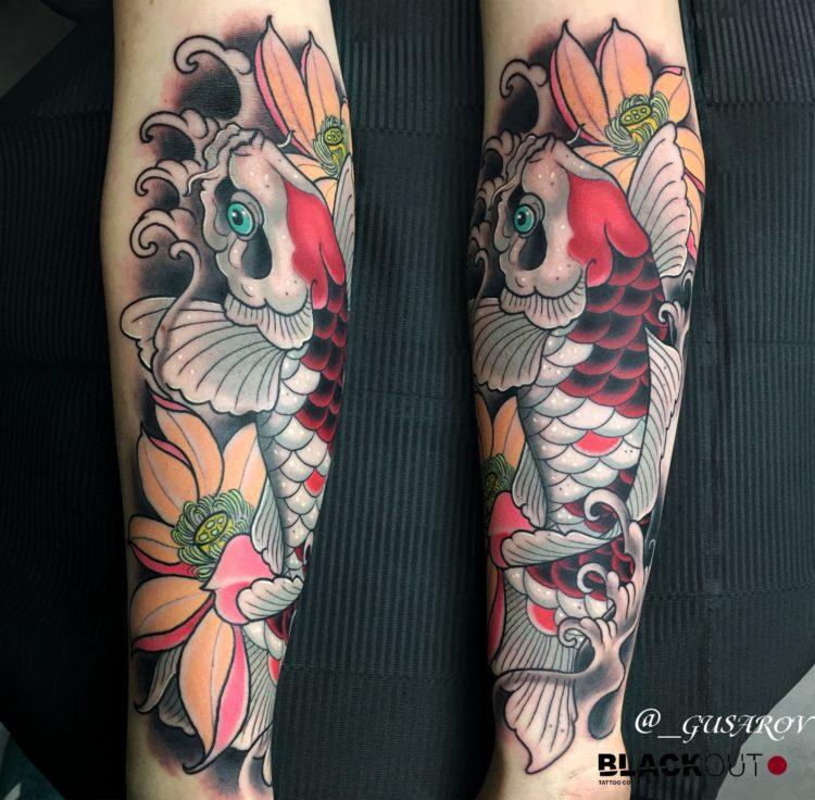 Карп в японском стиле на руке