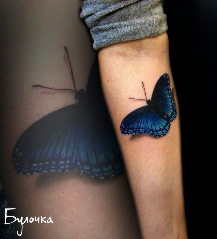 3D тату синей бабочки