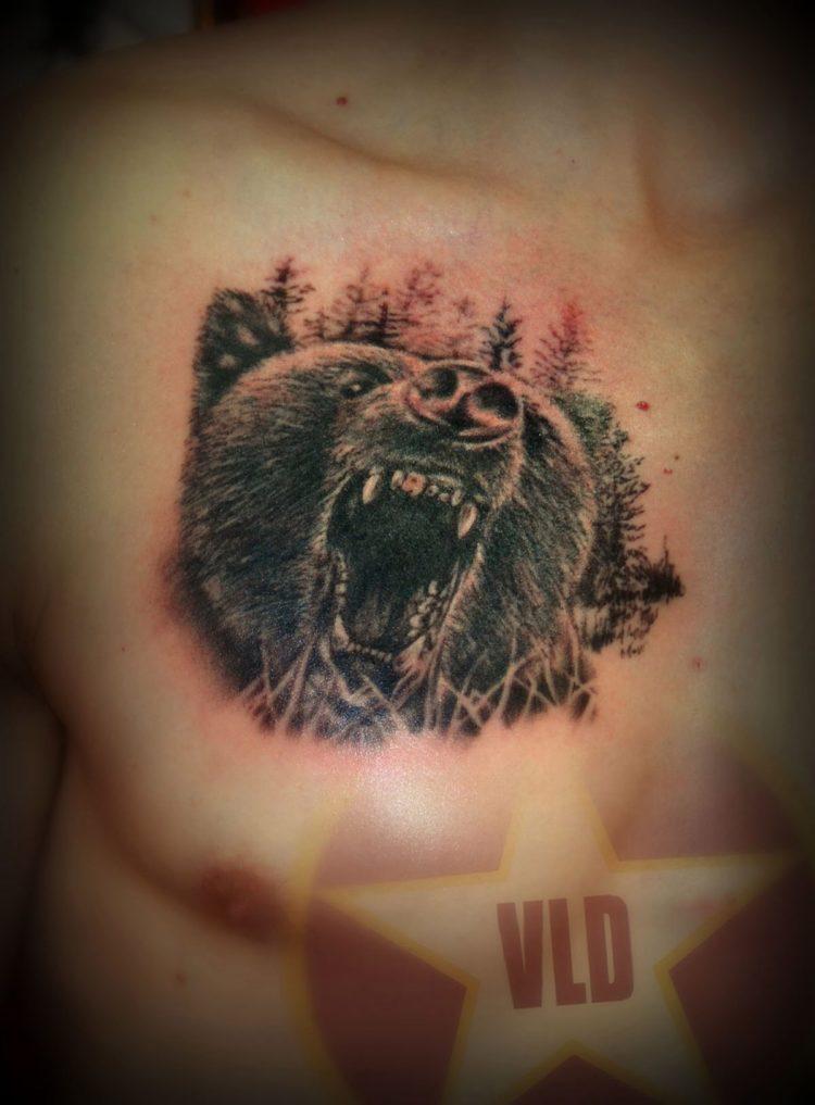 Медведь, мужская тату на груди