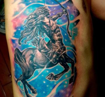 Цветная татуировка стрельца
