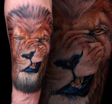 Портрет льва на предплечье