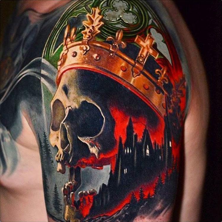 Цветная тату череп с короной
