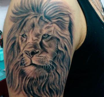 Лев с пышной гривой на плече у мужчины