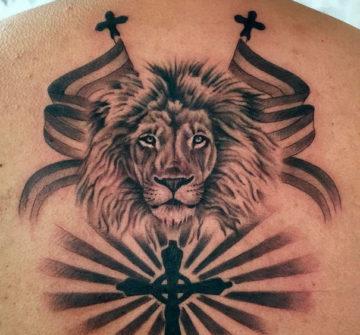 Тату Лев Иуды на спине