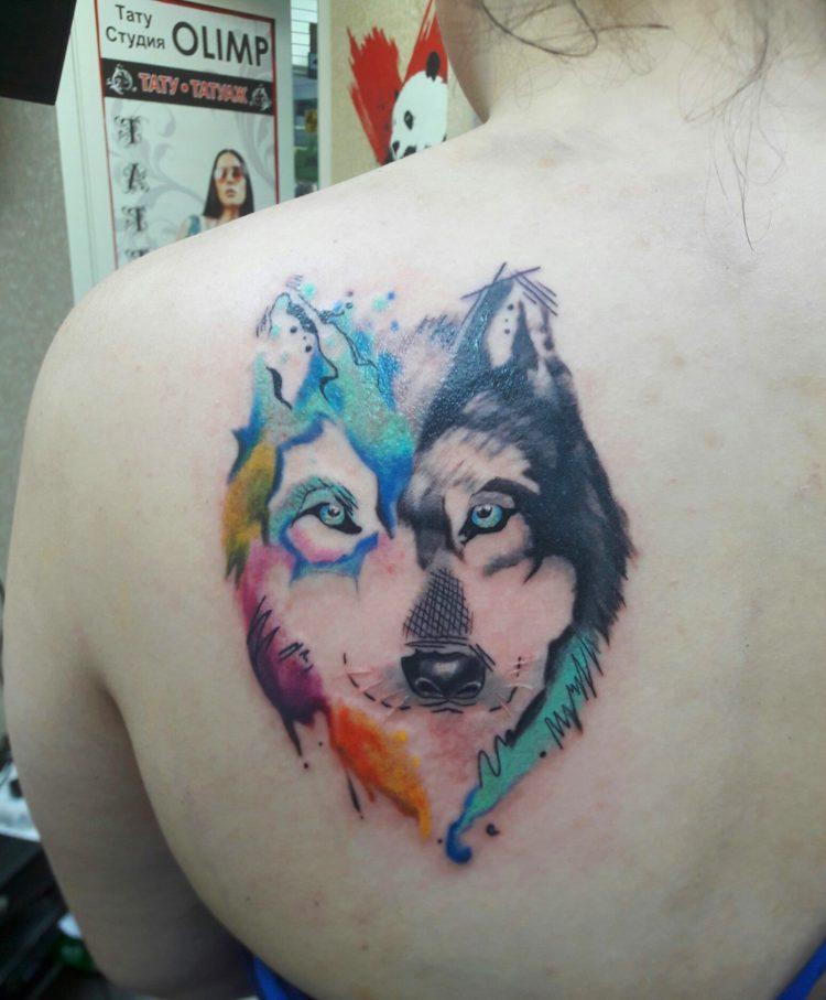 Волк на лопатке, Акварель