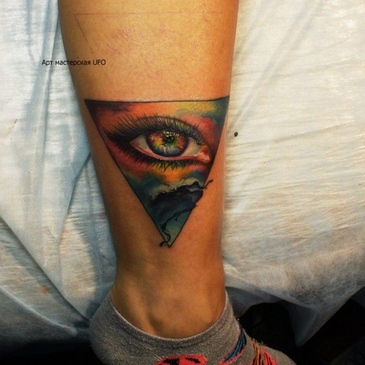 Глаз в треугольнике, тату на ноге