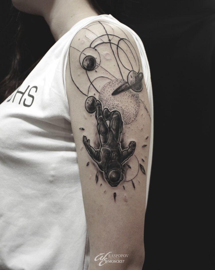 Космонавт и планеты, dotwork, black&grey