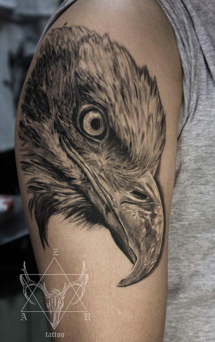 Голова птицы, black&grey