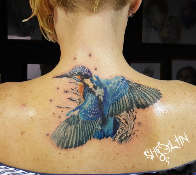 Колибри на спине у девушки