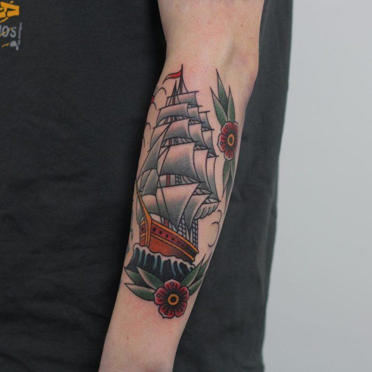 Парусный корабль, традишнл тату