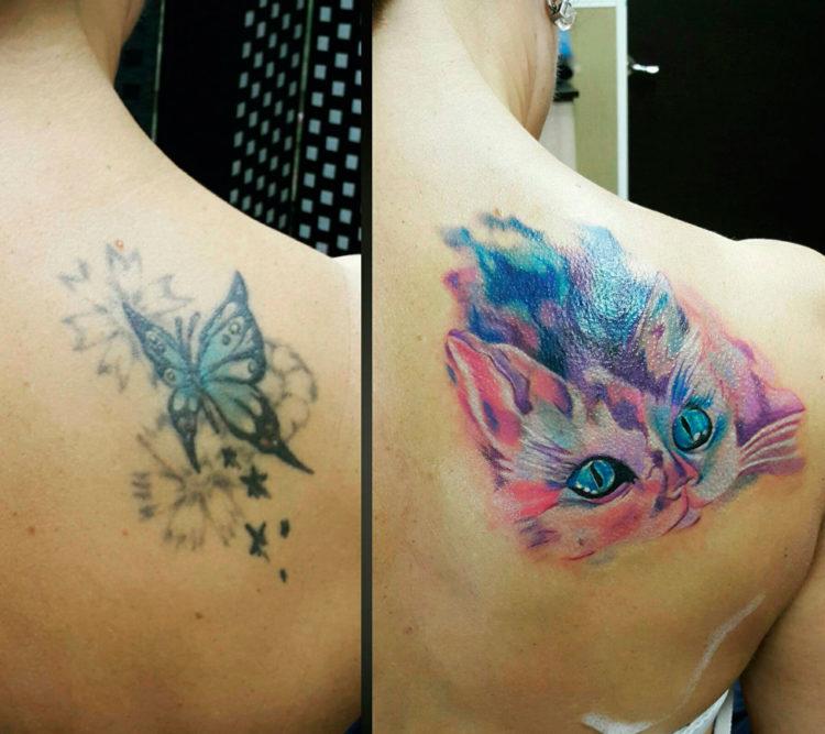 Перекрытие татуировки на лопатке