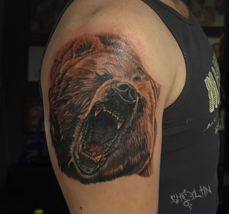 Ревущий медведь, тату на плече у мужчины