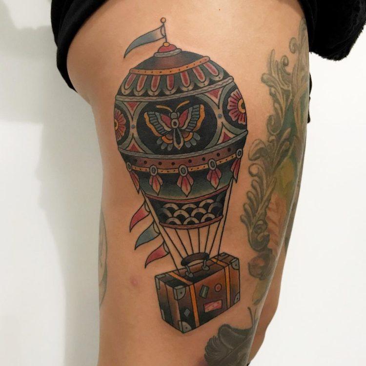 Воздушный шар, традишнл тату