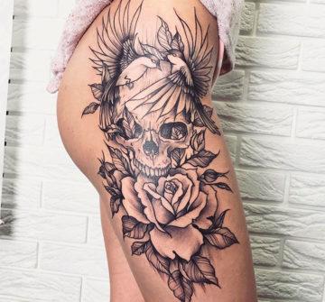 Череп с розой и птицами, стиль графика