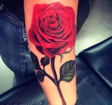 Фото тату роза на руке у девушки
