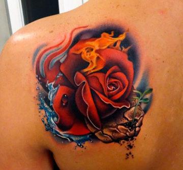 Тату горящая роза