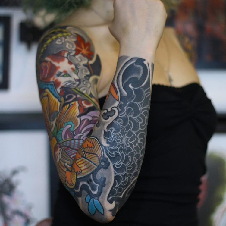 Японская тату на руке