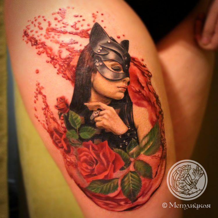 Женщина кошка и роза