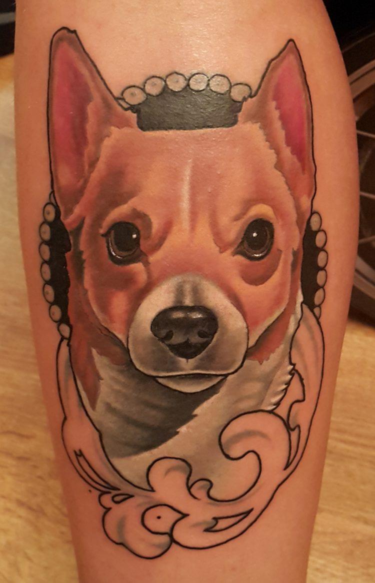 Портрет собаки на ноге
