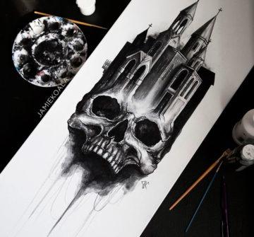 Эскиз тату замок и череп