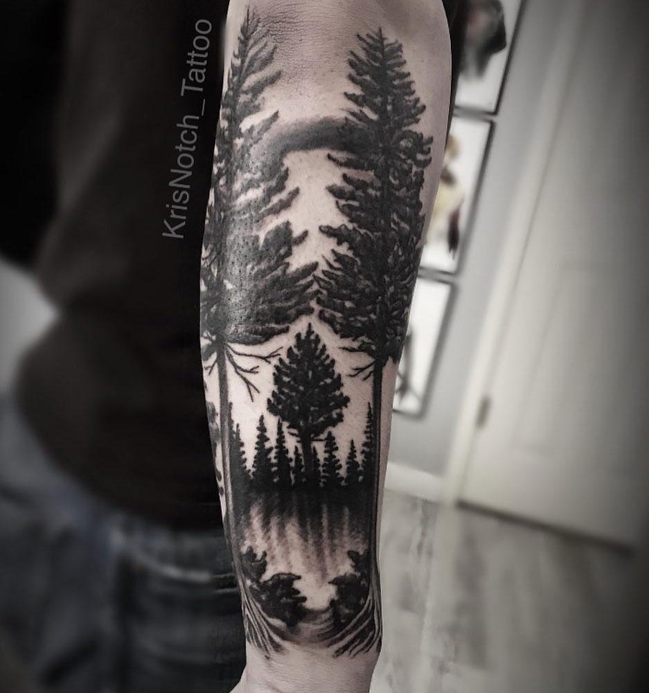 тату лес на руке эскиз фото большинство людей