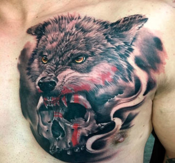 Тату волк и череп