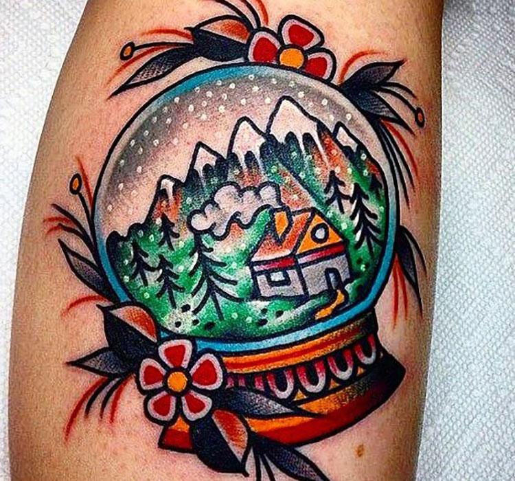 Татуировка снежного шара