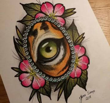 Эскиз глаза тигра