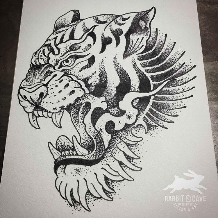 Эскиз тату тигр с открытой пастью
