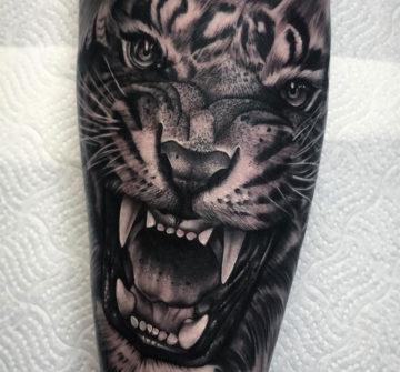 Оскал тигра, мужская тату на руке