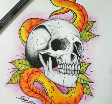 Череп со змеей