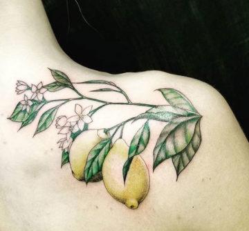 Лимоны на ветке, тату на плече у девушки
