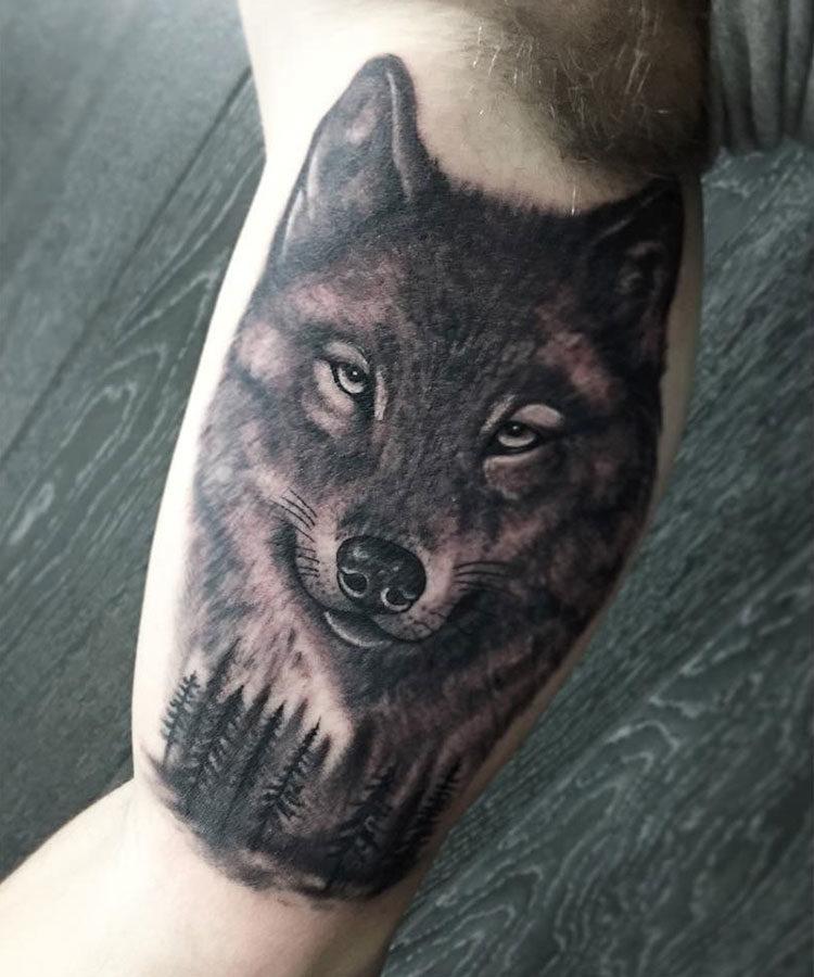 Волк и лес, мужская тату на бицепсе
