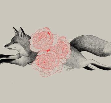 Эскиз лисы с цветами