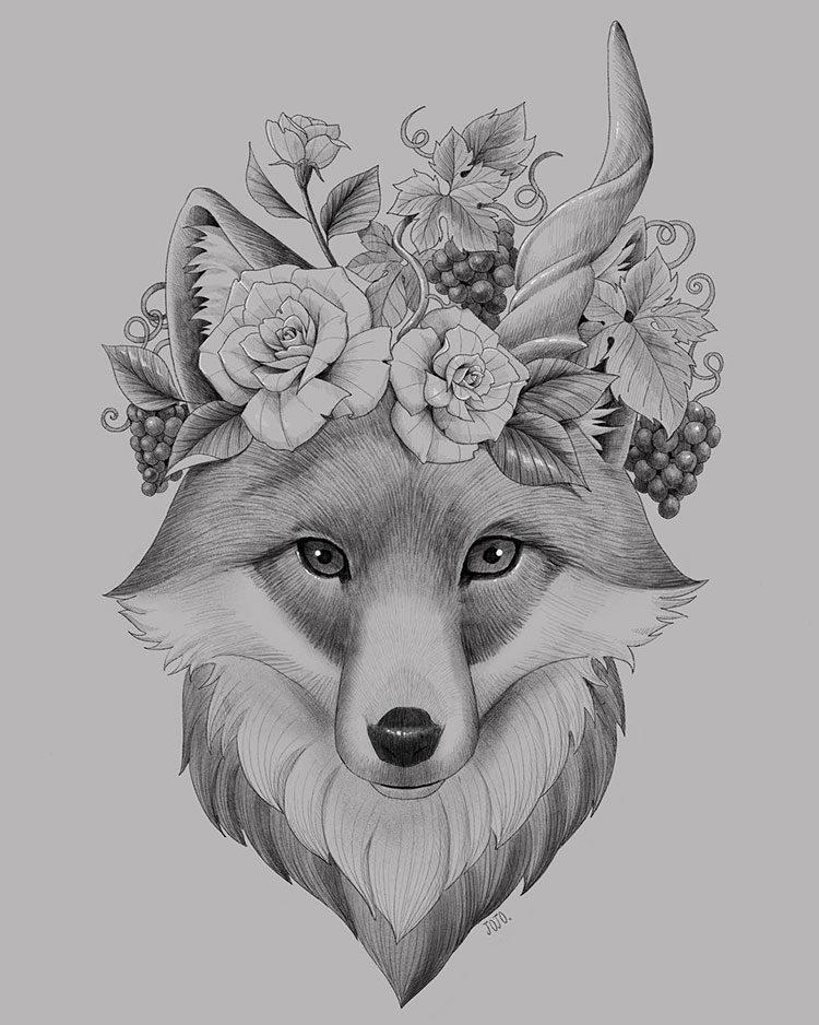 Эскиз лисы с цветами на голове
