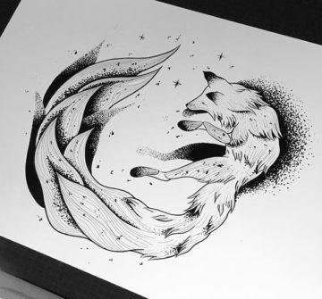 Эскиз лисы с пышным хвостом