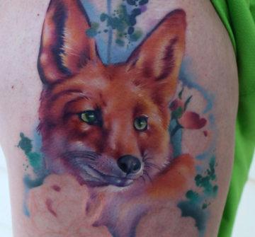 Рыжая лиса, тату в стиле акварель