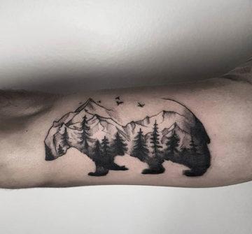 Абстрактный медведь, мужская тату на руке