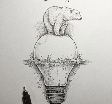 Эскиз медведя на лампочке