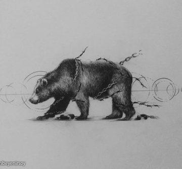 Эскиз медведя с цепями и оковами