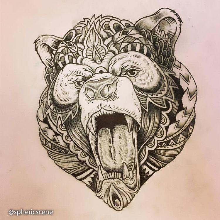 Эскиз медведя с узорами