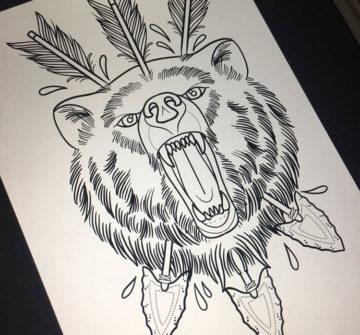Эскиз медведя со стрелами