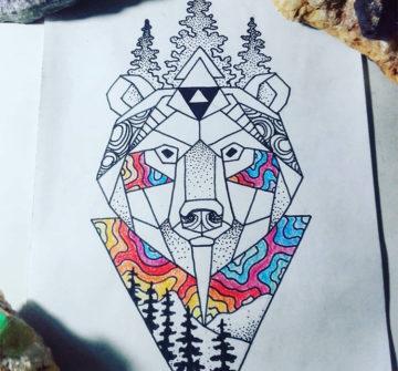 Эскиз медведя в стиле геометрия